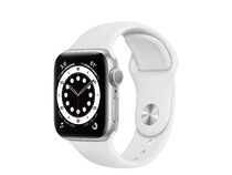 Apple Watch Series 6, 40 mm, Aluminum silber, Sportarmband weiß