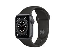 Apple Watch Series 6, 40 mm, Aluminum space grau, Sportarmband schwarz