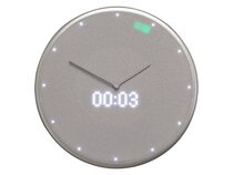 Glance Clock, smarte Wanduhr mit LED-Display, silber