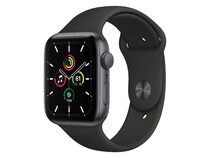 Apple Watch SE, 44 mm, Aluminium space grau, Sportarmband schwarz