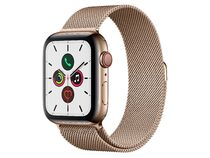 Apple Watch Series 5, GPS & Cellular, 44 mm, Edelstahl gold, Milanaise gold